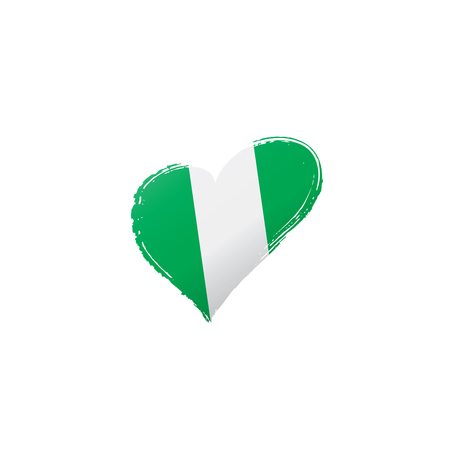 Nigeria flag, vector illustration on a white background Illustration