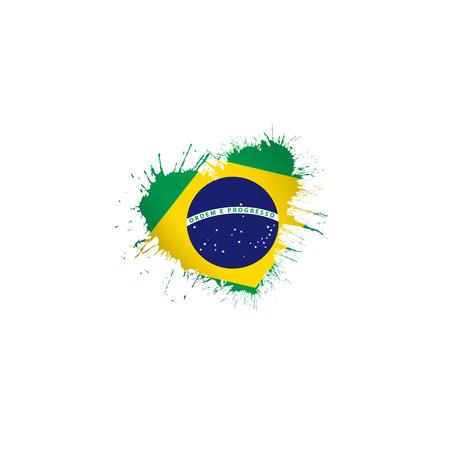 Brazil national flag, vector illustration on a white background Vektorové ilustrace