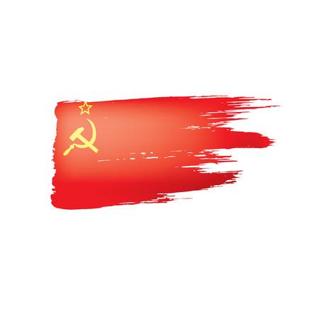 Czerwona flaga ZSRR. Ilustracja wektorowa na białym tle. Ilustracje wektorowe
