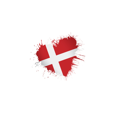 Denmark national flag, vector illustration on a white background