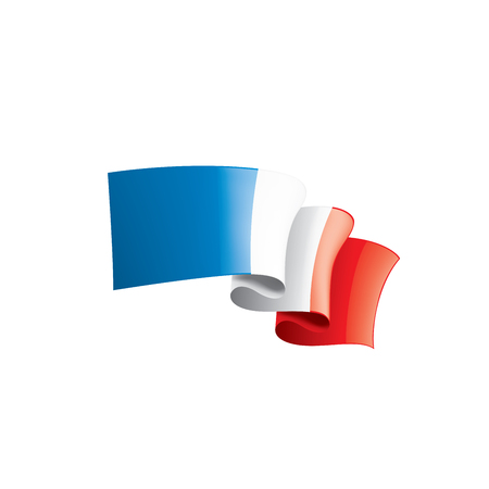 Bandiera della Francia, illustrazione vettoriale su sfondo bianco Vettoriali
