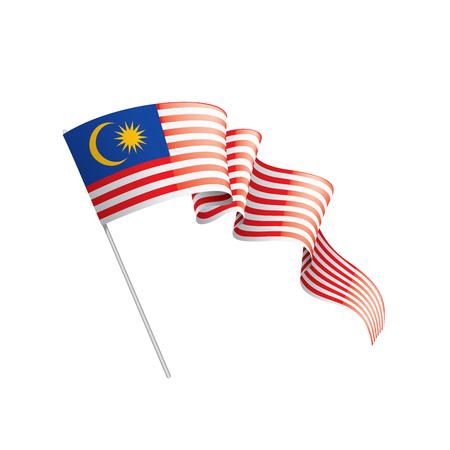 Bandera de Malasia, ilustración vectorial sobre un fondo blanco. Ilustración de vector