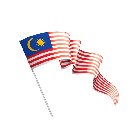Drapeau de la Malaisie, illustration vectorielle sur fond blanc Vecteurs