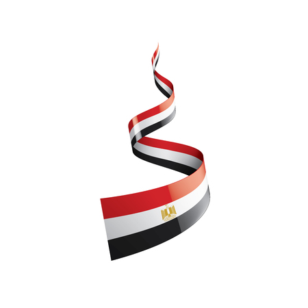 Egypt flag, vector illustration on a white background
