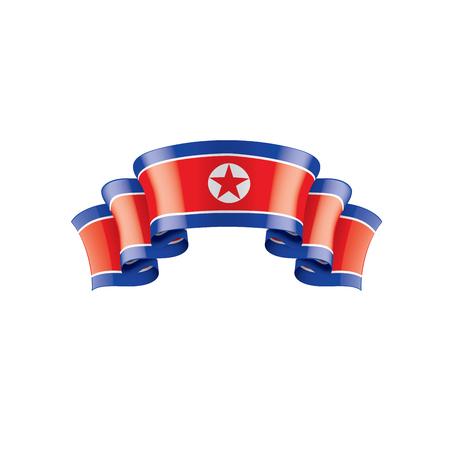 Drapeau national de la Corée du Nord, illustration vectorielle sur fond blanc Vecteurs