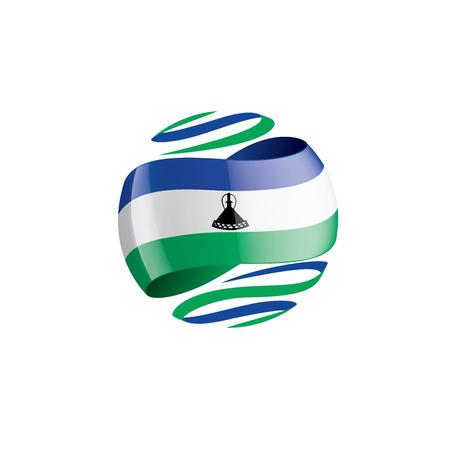 Lesotho national flag, vector illustration on a white background