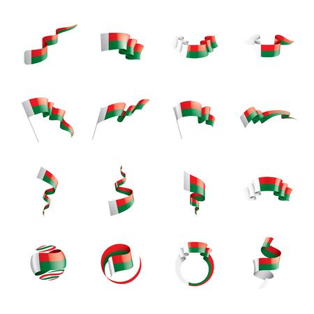Madagascar national flag, vector illustration on a white background Иллюстрация