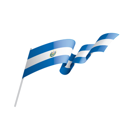 Salvador national flag, vector illustration on a white background
