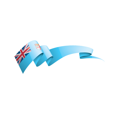 Fiji national flag, vector illustration on a white background Çizim