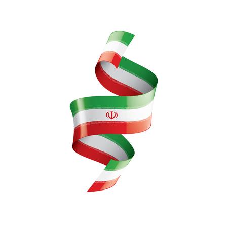 Iran-Flagge, Vektorillustration auf weißem Hintergrund