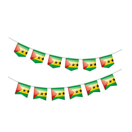 Sao Tome and Principe national flag, vector illustration on a white background