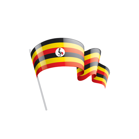 Uganda flag, vector illustration on a white background