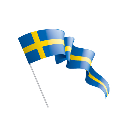 Sweden national flag, vector illustration on a white background