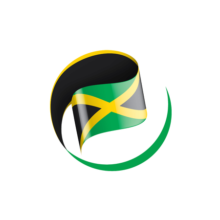 Jamaica national flag, vector illustration on a white background Illustration
