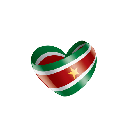 Suriname national flag, vector illustration on a white background