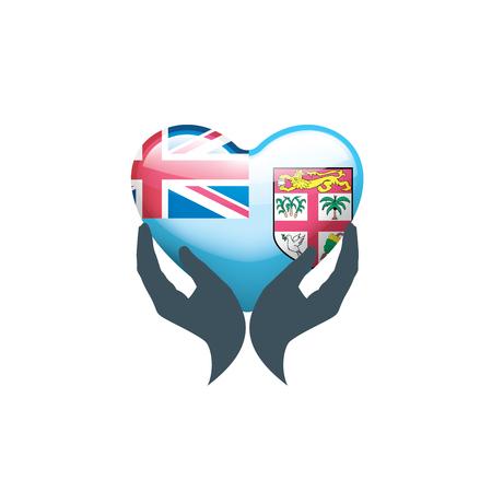 Fiji flag, vector illustration on a white background Çizim