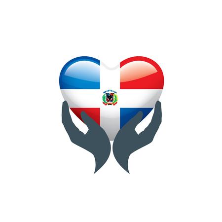 Dominicana national flag, vector illustration on a white background Vektoros illusztráció