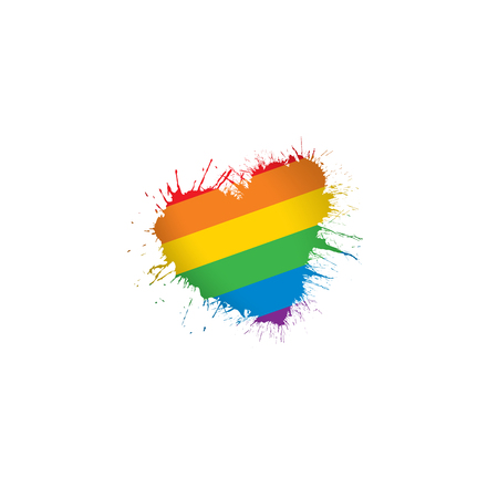 Vector de una bandera del arco iris ondeando sobre fondo blanco