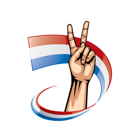 Netherlands flag and hand on white background. Vector illustration. 矢量图像