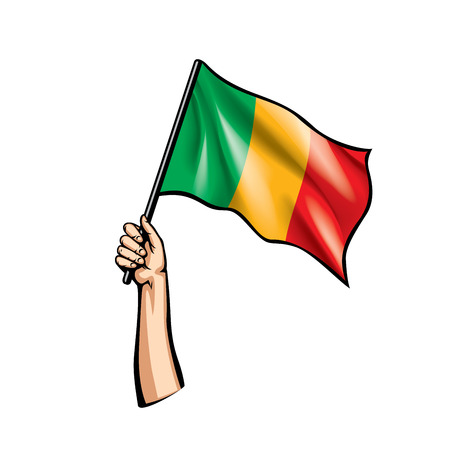 Mali flag and hand on white background. Vector illustration. Vettoriali