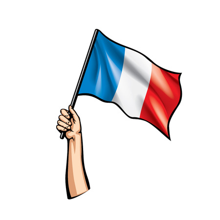 France flag and hand on white background. Vector illustration. 矢量图像