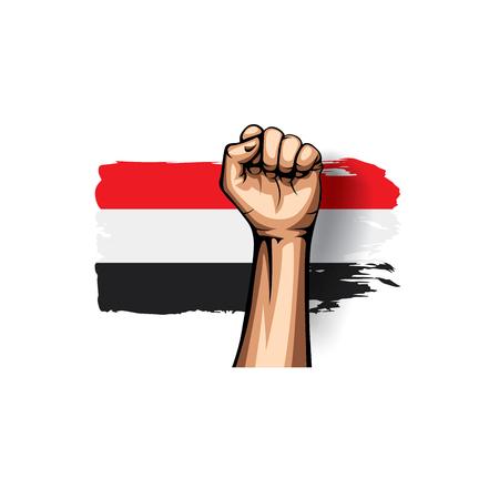 Yemeni flag and hand on white background. Vector illustration.