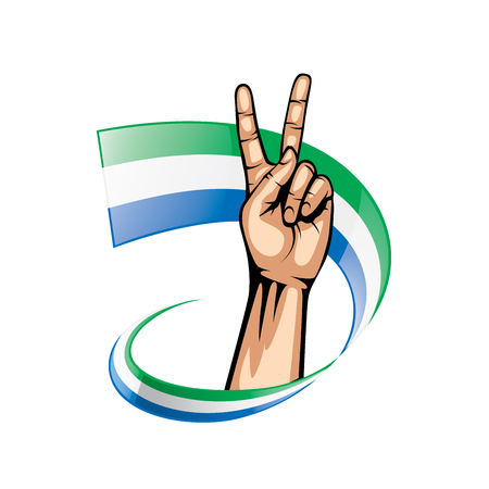 Sierra Leone flag and hand on white background. Vector illustration.