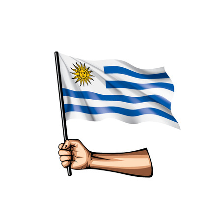 Uruguay flag and hand on white background. Vector illustration.  イラスト・ベクター素材