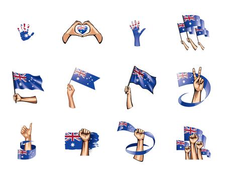 Australia flag and hand on white background. Vector illustration.