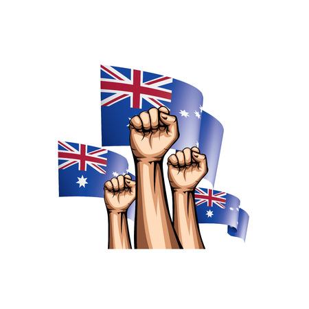 Australia flag and hand on white background. Vector illustration