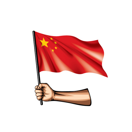 China flag and hand on white background. Vector illustration. Ilustrace