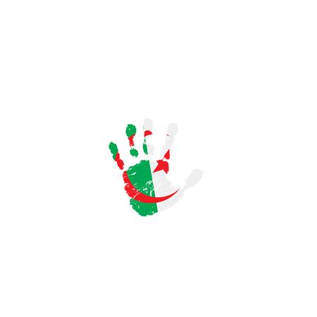 Algeria flag and hand on white background. Vector illustration.