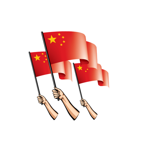 China flag and hand on white background. Vector illustration. Ilustração
