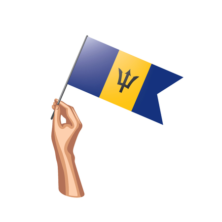 Barbados flag and hand on white background. Vector illustration. Vecteurs
