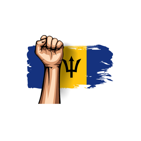 Barbados flag and hand on white background. Vector illustration