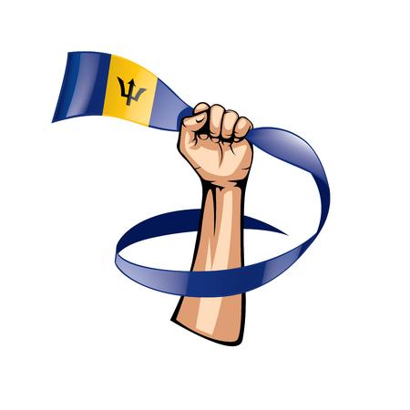 Barbados flag and hand on white background. Vector illustration. Illustration