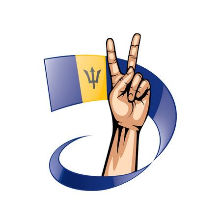 Drapeau de la Barbade et main sur fond blanc. Illustration vectorielle. Vecteurs