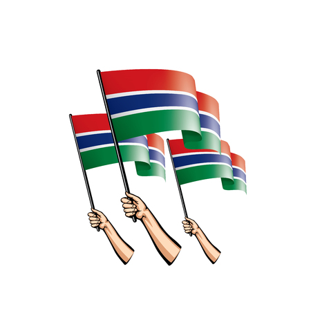 Gambia flag and hand on white background. Vector illustration. Vectores