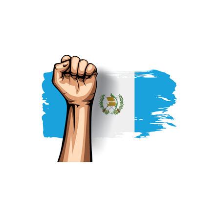 Guatemala flag and hand on white background. Vector illustration. Vetores