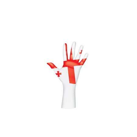 Georgia flag and hand on white background. Vector illustration.