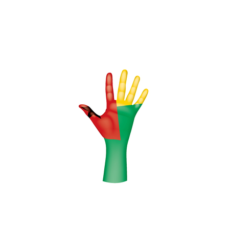 Guinea Bissau flag and hand on white background. Vector illustration.