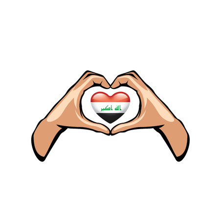Iraqi flag and hand on white background. Vector illustration Vecteurs