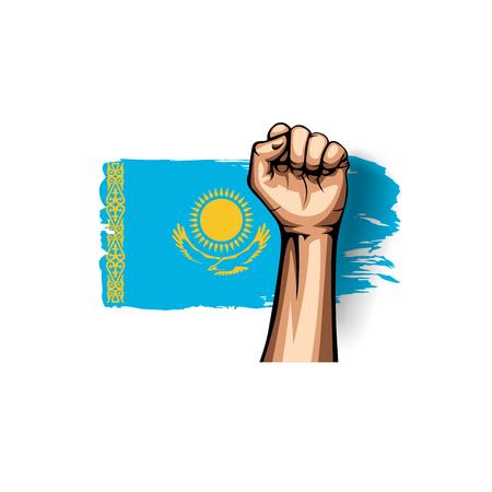Kazakhstan flag and hand on white background. Vector illustration.