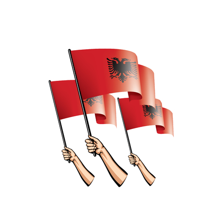 Albania flag and hand on white background. Vector illustration