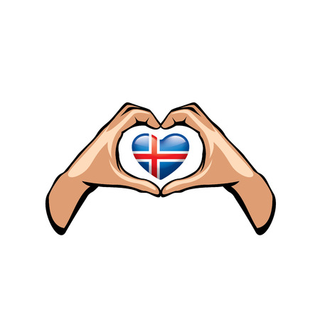 Iceland flag and hand on white background. Vector illustration.