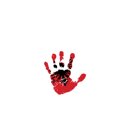 Albania flag and hand on white background. Vector illustration. 矢量图像