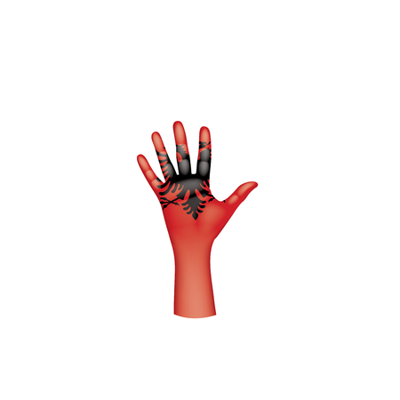 Albania flag and hand on white background. Vector illustration.