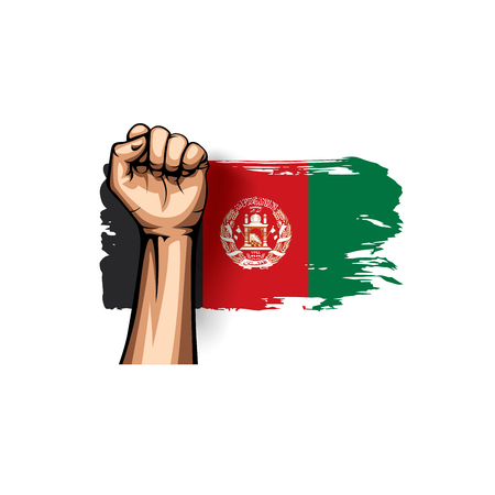 Afghanistan flag and hand on white background. Vector illustration.