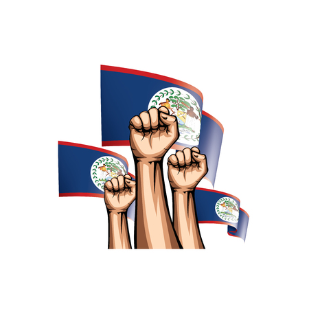 Belize flag and hand on white background. Vector illustration. Vetores