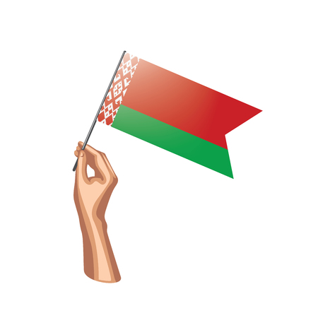 Belarus flag and hand on white background. Vector illustration. Ilustração